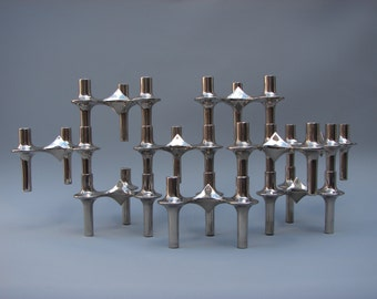 Vintage design 9 Nagel Atomic modular candle holders chrome candlesticks