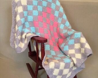 Crocheted Entrelac Baby Blanket