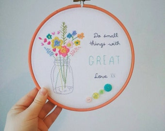 Great Love Embroidered Hoop Art, Floral, Slow Living, Mason Jar, Embroidery Art
