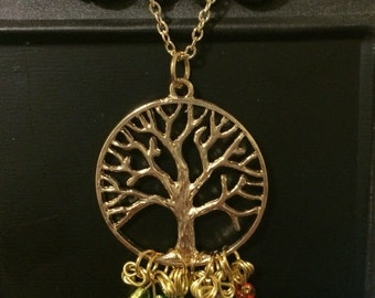 Tree of Life Birthstone Family Necklace