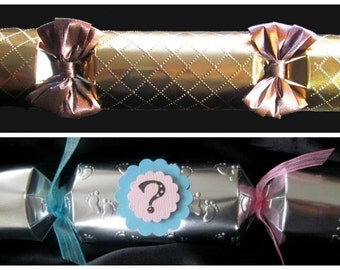 Baby GENDER REVEAL or New Baby ANNOUNCEMENT party cracker poppers, we Form them and you Fill them, personalize custom empty party crackers