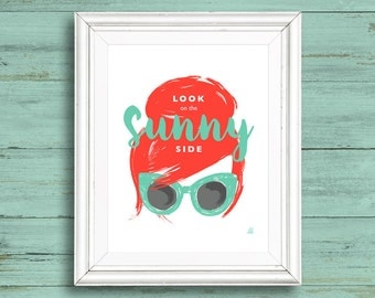 Look on The Sunny Side Aqua Sunglasses Illustration Downloadable Wall Art
