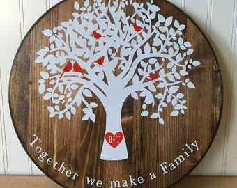 Wooden circular family tree personalized wall hanging