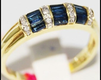 Diamond 18K Yellow Gold Eternity Gemstone Blue Sapphire Ring [RR034]