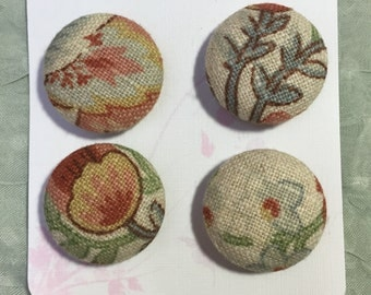 Handmade fabric buttons, Covered buttons, 1.1 inches, 28mm, 4's