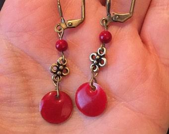 Red brass earrings antique