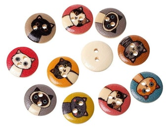 Cat Buttons, Wooden Cat Buttons, Wooden Buttons, 15mm Buttons, Wooden 15mm Buttons, Kitty Button, Kitten Buttons, Childrens Buttons, Cats