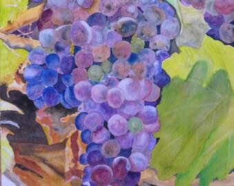 Watercolor Original Rectangular Grapes on the Vine Purple