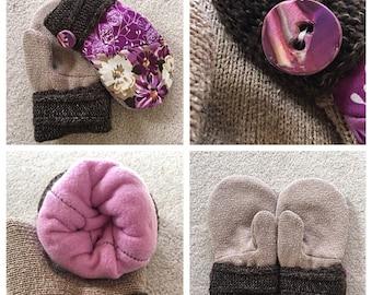 Handmade sweater, floral mittens