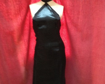 Long black satin dress