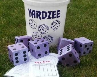 Yardzee & Farkle-Giant Yardzee-BIG Yard Games-Giant Yahtzee-Wooden Dice-Outdoor Games-Game Night-Backyard Games-Camping Games