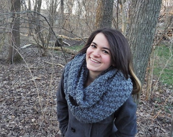 Knit Chunky Infinity Scarf-Gray-Made to Order-FREE SHIPPING