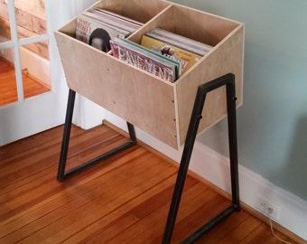 Handmade modern wood and metal vinyl record album holder cabinet