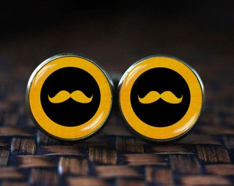 Mustache Cufflinks, Black Curly Moustache Cufflinks, Funny Cufflinks for Men, Hipster Mustache cufflinks, Yellow cufflinks, Funny men's gift