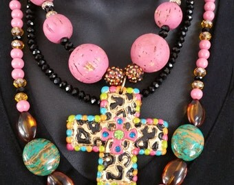 Handmade Necklace Set, Hand Strung Necklace Set, Statement Necklace Set, Bold Pink Necklace Set