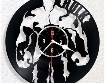 Vinyl wall clock Hulk