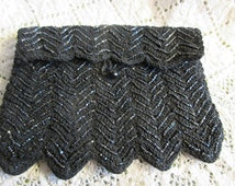 Vintage evening bag, 1930's crocheted, beaded, black,Art Deco, classy, simple, excellent condition