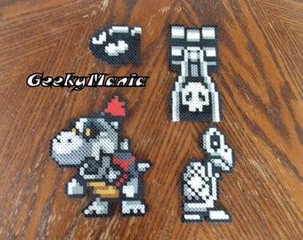 Super Mario Dungeon Enemies ( DryBone, DryBowser Jr, Bullet Bill) Perler Beads