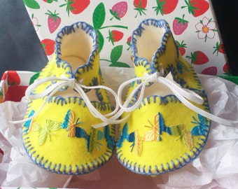 Springtime Yellow with Butterflies Pure Wool Felt Baby Shoes. Fully Lined. Gift Boxed. 0-3 months OOAK