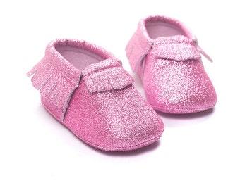 Pink Glitter Moccasins