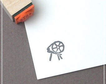 Small Spinning Wheel Rubber Stamp