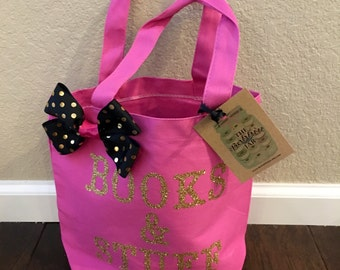 "Small Tote-""Books & Stuff""-Pink/Gold/Black-kids tote-kids gift-books-stuff-pink tote-gold and black tote-gold and black bow"