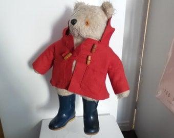 Paddington mohair Bear by Gabrielle designs early vintage edition dunlop boots blue