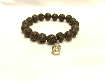 Genuine Lava Stone Bracelet with Silver Buddha Head