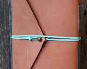 Leather Journal - Coral Blush with turquoise cord and a copper button - Handmade book or sketchbook - Blank Pages - turquoise binding