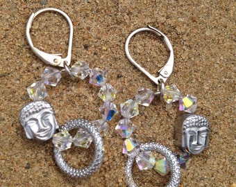 Buddha earrings Crystal light available in silver and gold