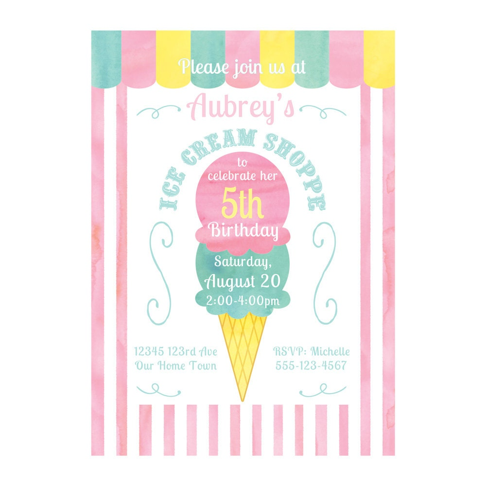CUSTOM PRINTABLE Ice Cream Party Invitation and Thank You