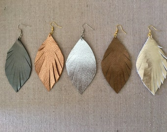 Metallic Leather Feather Earrings