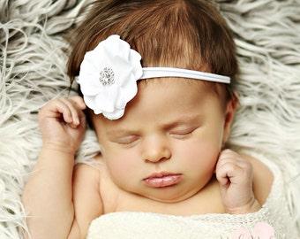 White Baby Headband, Christening headband,Baptism headband, Baby headbands,Newborn headband,Baby headband,Nylon Headband,White Bow,headbands
