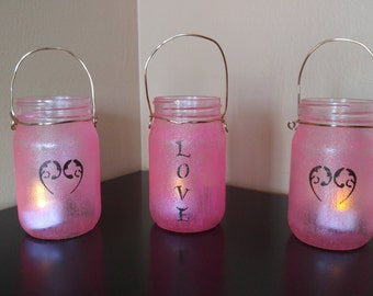 Pink Patio Lantern Set, Glass Hanging Lanterns with Metal Hangers