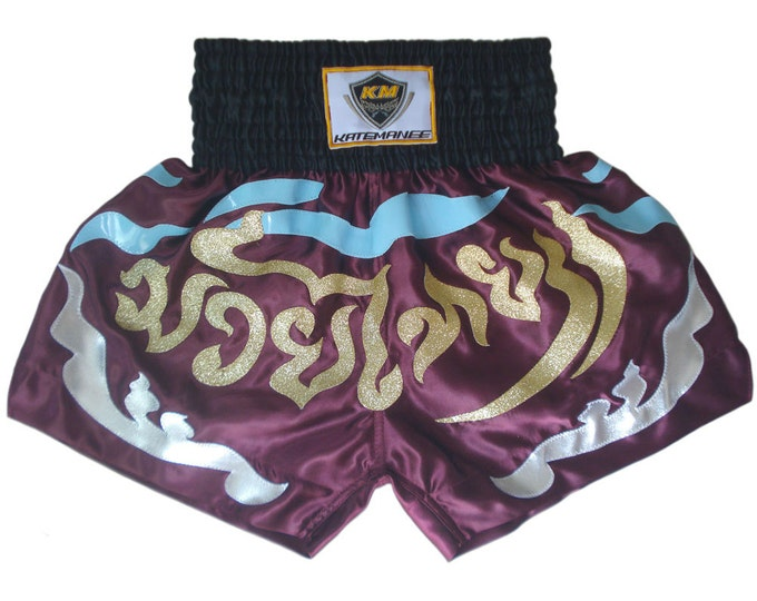 Muay Thailand Boxing Shorts for Training and Sparring Boxing Trunks Martial Arts - PURPLE
