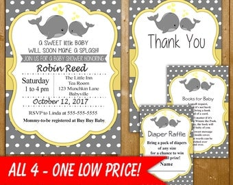 Whale Baby Shower Invitation, Neutral Baby Shower Set, Includes Diaper Raffle, Books for Baby, Thank You Card, Yellow WLNL4 Printable