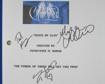 Charmed Signed TV Script Screenplay X4 Alyssa Milano Holly Marie Combs Shannen Doherty Ted King autograph signature feat of clay