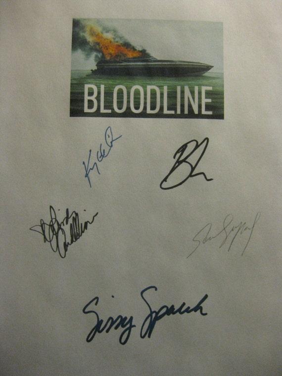 Bloodline Signed TV Script Screenplay X5 Autographs Kyle Chandler Linda Cardellini Sissy Spacek Ben Mendelsohn Sam Shepard signatures