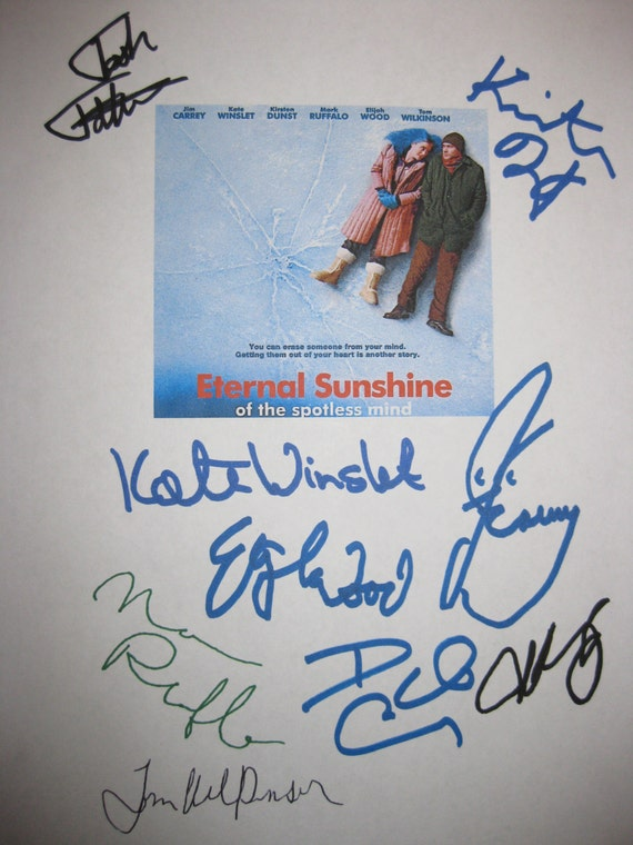 Eternal Sunshine of the Spotless Mind Signed Film Movie Script Screenplay Jim Carrey Kate Winslet Elijah Wood Mark Ruffalo Kristen Dunst
