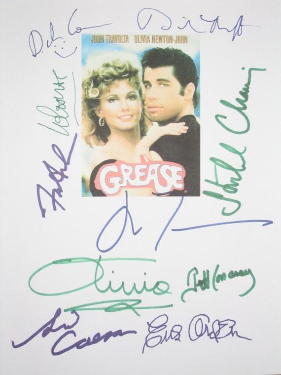 Grease Signed Film Movie Screenplay Script X10 Autographs John Travolta Olivia Newton-John Sid Caesar Lorenzo Lamas Frankie Avalon Conaway