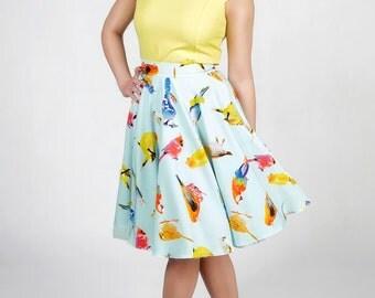 Retro skirt, circle skirt, pin up skirt, blue skirt, birds pattern skirt, petticoat skirt.