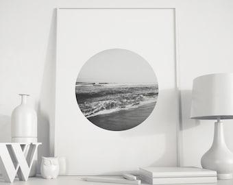 Ocean art, Ocean print, ocean photo, Black White Photo, Ocean print, Black White art, beach decor, beach photo, Ocean deco, minimalist photo