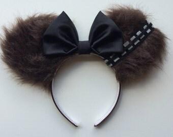 Chewbacca Chewie Wookie Star Wars Themed Mickey Minnie Mouse Ears Head Band Headband