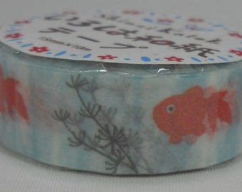 2016 Seal-do Iroha-Washi Masking Tape 15mm x 10m Bunbunbun Goldfish Fish Bowl ks-wt-10028