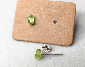 Tiny Peridot Studs Earrings, Rough, Raw Stone, Sterling Silver, 925