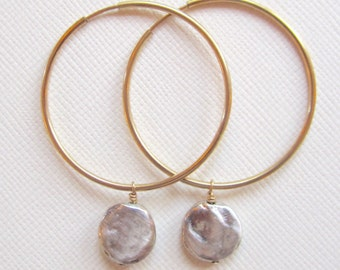 Sterling disc beads on 14k gold filled hoops