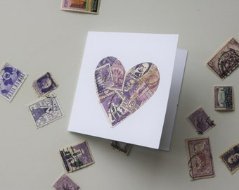 Hand made love heart greeting card made from collected vintage stamps from around the world