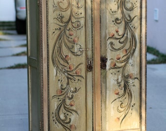 European Handpainted Cabinet Pink Floral With Key