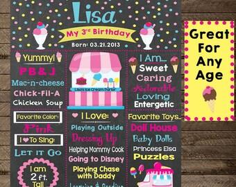 Girl's Birthday Chalkboard sign, Ice Cream Theme, Ice Cream Parlor, Third Birthday, Second Birthday, First Birthday Chalkboard poster, print