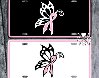 Butterfly Breast Cancer Ribbon Decal Support Pink Cancer Ribbon License Plate